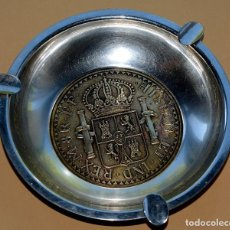 Antigüedades: IMPRESIONANTE CENICERO CON FONDO UNA RÉPLICA GIGANTE EN BRONCE DE MONEDA DE 8 REALES CARLOS III. Lote 84480808