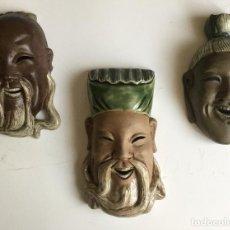 Antigüedades: 3 PRECIOSAS CABEZAS DE PORCELANA DE BISCUIT CHINA. Lote 84525472
