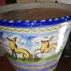 Antigüedades: MACETA GRANDE DECORADA AÑOS 70. Lote 84530296