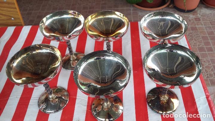Antigüedades: precios juego de 6 copas de alpaca o baño de plata - Foto 2 - 84534040