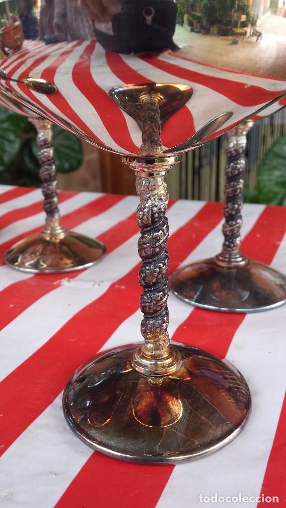 Antigüedades: precios juego de 6 copas de alpaca o baño de plata - Foto 3 - 84534040