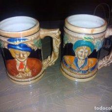 Antigüedades: (2)JARRAS DE CERVEZA ALEMANAS 12 CM. Lote 84540176