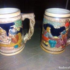 Antigüedades: (2)JARRAS DE CERVEZA ALEMANAS 12 CM. Lote 84540260