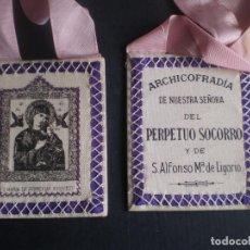 Antigüedades: ESCAPULARIO, ARCHICOFRADIA DE NUESTRA SEÑORA DEL PERPETUO SOCORRO Y DE SAN ALFONSO LIGORIO. Lote 84560404