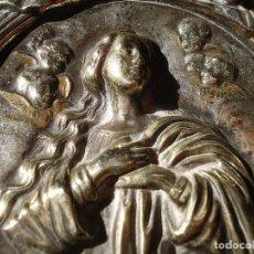 Antigüedades: INMACULADA CONCEPCIÓN SXIX PLATA FIRMADA VER FOTOS 9,5X7CM.. Lote 84571584