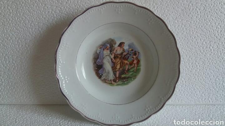 ANTIGUO PLATO PORCELANA SAN CLAUDIO ASTURIAS DECORADO (Antigüedades - Porcelanas y Cerámicas - San Claudio)