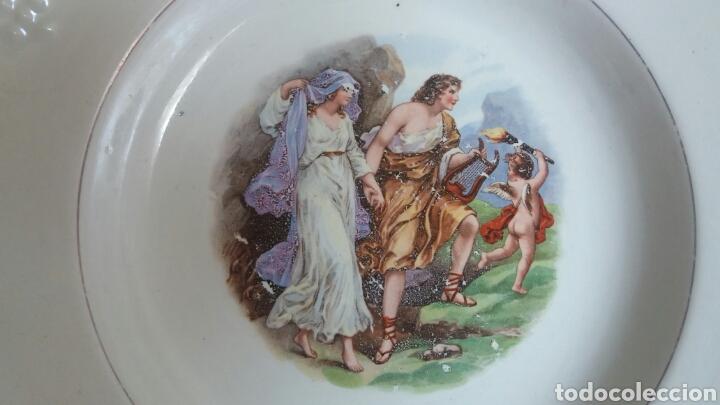 Antigüedades: Antiguo plato porcelana San Claudio Asturias decorado - Foto 4 - 84586263