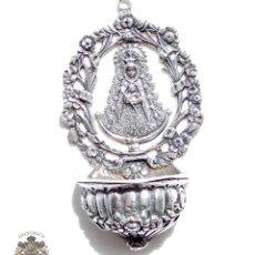 Antigüedades: BENDITERA VIRGEN DEL ROCIO DE PLATA DE LEY 35 GRAMOS 8X5 CM. Lote 84593736