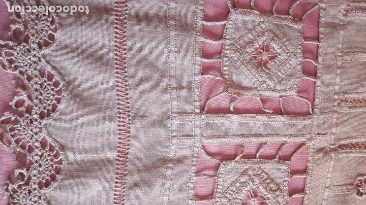 Antigüedades: Cortina modernista en hilo bordada a mano con puntilla a ganchillo - Foto 2 - 84615220
