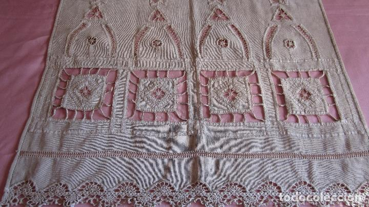 Antigüedades: Cortina modernista en hilo bordada a mano con puntilla a ganchillo - Foto 5 - 84615220
