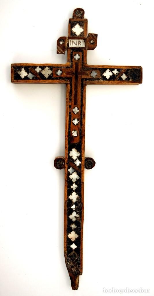 CRUZ RELICARIO FRANCISCANO DE JERUSALEN - S. XVIII (Antigüedades - Religiosas - Cruces Antiguas)