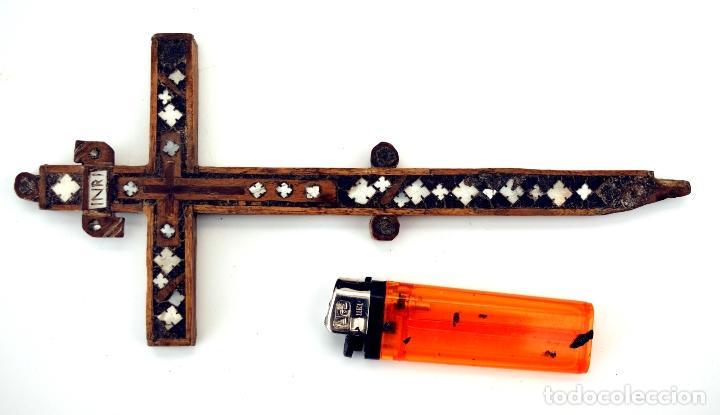 Antigüedades: CRUZ RELICARIO FRANCISCANO DE JERUSALEN - S. XVIII - Foto 4 - 84618372