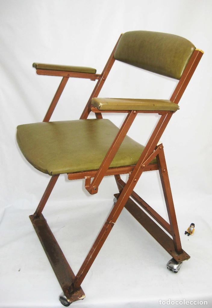 Genial silla antigua vintage hierro madera sky comprar for Ruedas industriales antiguas para muebles