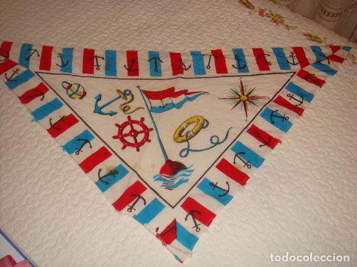 PAÑOLETA CON MOTIVOS MARINEROS DE PRINCIPIOS DEL SIGLO PASADO (Antigüedades - Moda - Pañuelos Antiguos)