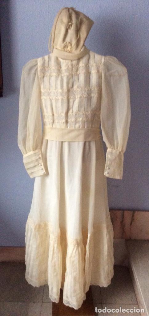PRECIOSO VESTIDO DE COMUNIÓN ANTIGUO CON TOCADO (Antigüedades - Moda y Complementos - Mujer)