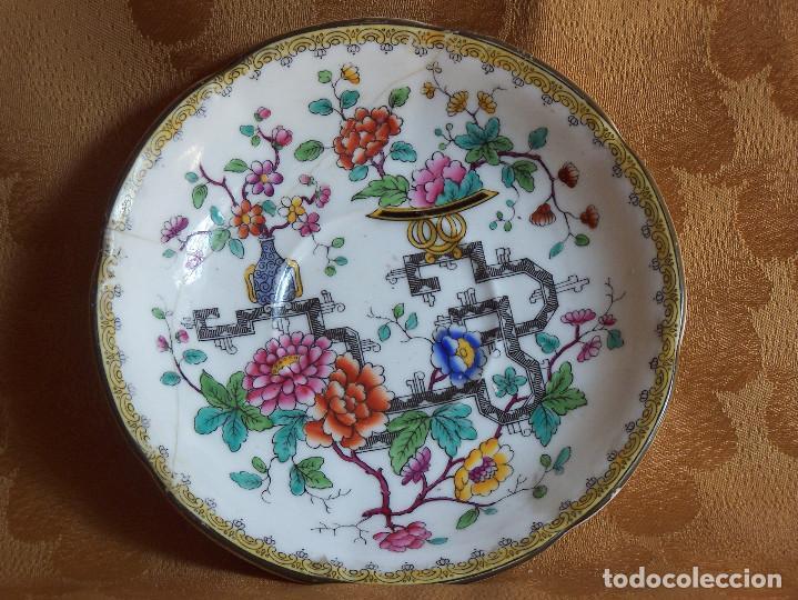 PLATITO AYNSLEY , INGLATERRA. S. XIX. Ø 14,5 CM (Antigüedades - Porcelanas y Cerámicas - Inglesa, Bristol y Otros)