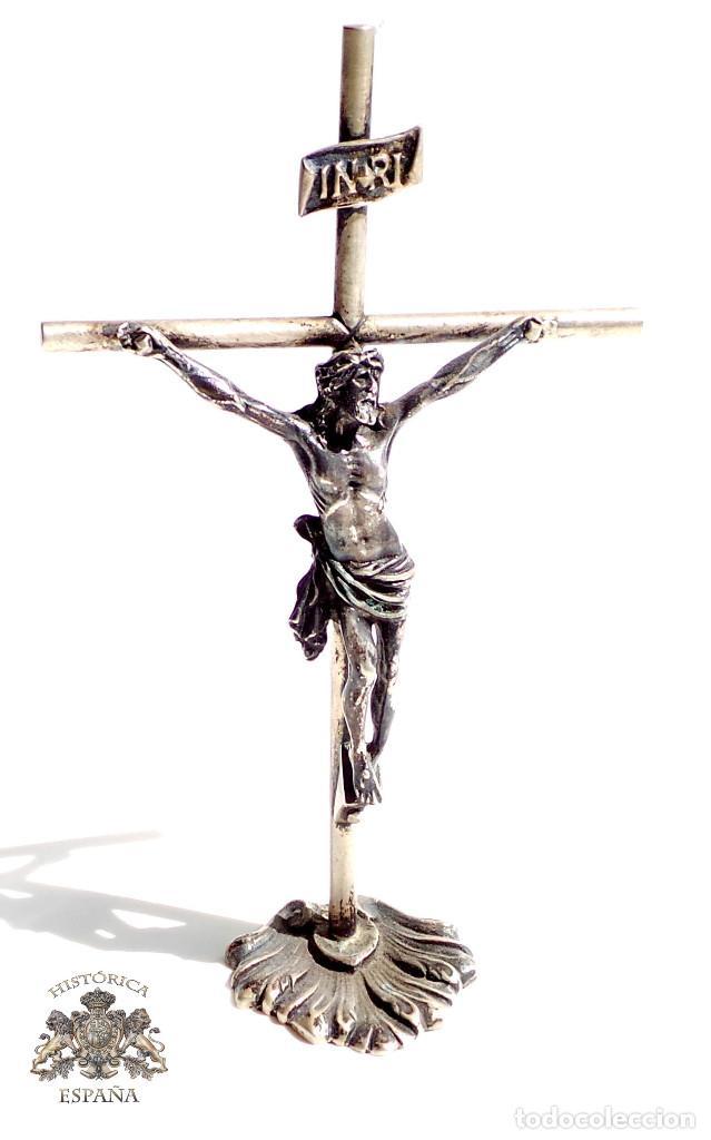 CRUCIFIJO DE MUY BUENA MANUFACTURA EN PLATA DE LEY 14 CM DE ALTO 100 GRAMOS (Antigüedades - Religiosas - Crucifijos Antiguos)