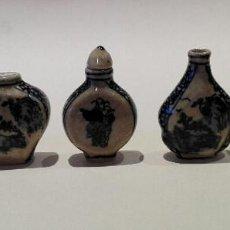 Antigüedades: LOTE COMPUESTO POR 5 PERFUMEROS O SNUFF BOTTLE EN CERÁMICA CHINA. Lote 84745376