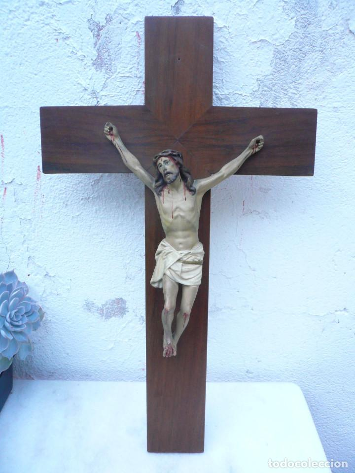 Antigüedades: ANTIGUO CRISTO DE OLOT. OJOS DE CRISTAL. CON SELLO EL ARTE CRISTIANO OLOT - Foto 3 - 84749700