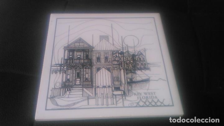 ANTIGUO AZULEJO DECORATIVO PINTADO A MANO,KEY WEST FLORIDA,TILES (Antigüedades - Porcelanas y Cerámicas - Azulejos)