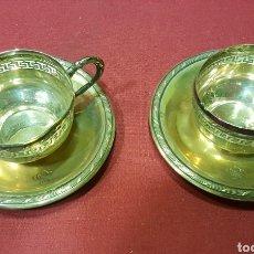 Antigüedades: BONITA PAREJA DE TAZAS DE PLATA CALADA ANTIGUA DE 800 CON MARCAS. PESO: 103 GRAMOS.. Lote 84779332