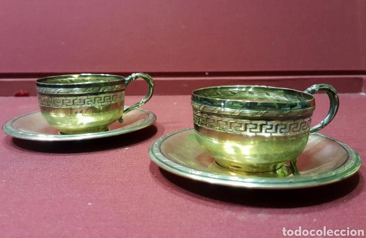 Antigüedades: Bonita pareja de tazas de plata calada antigua de 800 con marcas. Peso: 103 gramos. - Foto 2 - 84779332