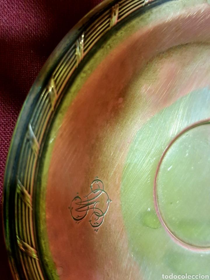 Antigüedades: Bonita pareja de tazas de plata calada antigua de 800 con marcas. Peso: 103 gramos. - Foto 3 - 84779332