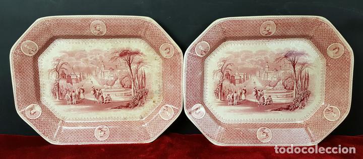 PAREJA DE BANDEJAS. PORCELANA. W. ADAMS AND SONS. INGLATERRA. SIGLO XIX. (Antigüedades - Porcelanas y Cerámicas - Inglesa, Bristol y Otros)