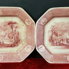 Antigüedades: PAREJA DE BANDEJAS. PORCELANA. W. ADAMS AND SONS. INGLATERRA. SIGLO XIX.. Lote 84789904