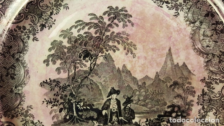 Antigüedades: 3 PLATOS. CERÁMICA ESMALTADA. TYROL HUNTERS. DAVENPORT. SIGLO XIX-XX. - Foto 7 - 84833988