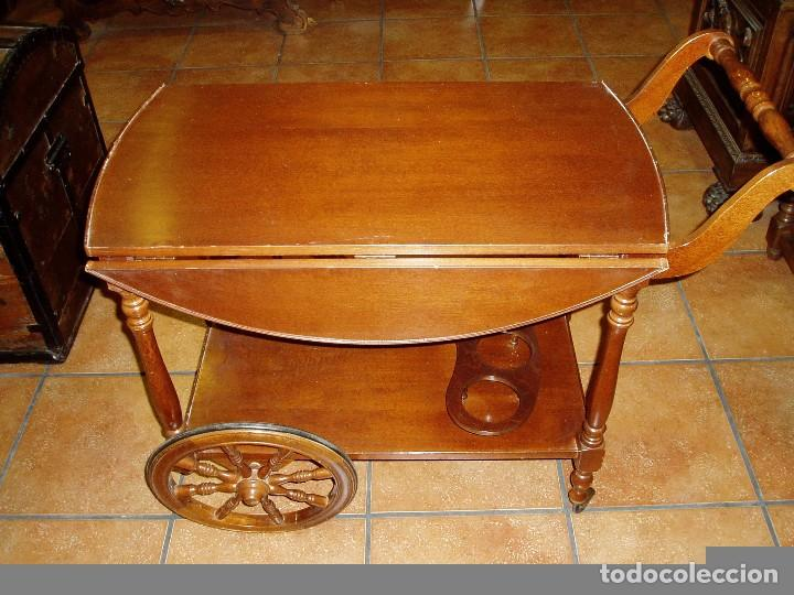 Antigüedades: MESA CAMARERA DE MADERA CON RUEDAS. BOTELLERO - Foto 2 - 84866836