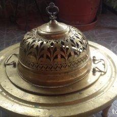 Antigüedades: ANTIGUO BRASERO DE LATON, PRECIOSO. Lote 84871664