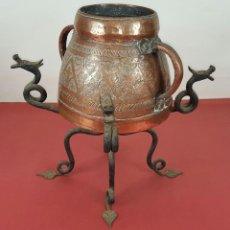Antigüedades: MESURA O MEDIDOR CON PEANA. COBRE Y METAL. CATALUÑA. SIGLO XVII-XVIII.. Lote 84606156