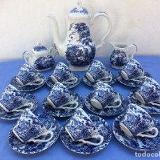 Antigüedades: JUEGO DE CAFÉ EN SEMIPORCELANA SELLADO MYOTT. Lote 84905116
