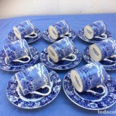 Antigüedades: JUEGO ANTIGUO DE TAZAS CAFÉ EN SEMIPORCELANA SELLO PALISSY. Lote 84908484