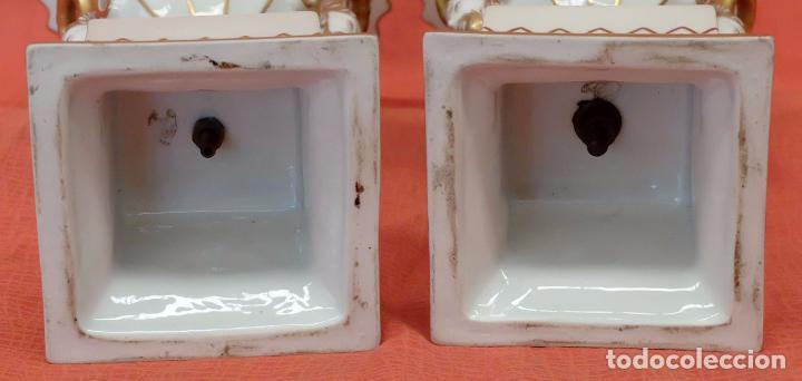 Antigüedades: PRECIOSA PAREJA DE COPAS EN PORCELANA DE SANTA CLARA (MAH) VIGO. CIRCA 1900 - Foto 11 - 84915852
