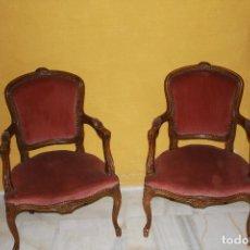 Antigüedades: PAREJA DE SILLONES LOUIS XV DE 1900 REF.6008. Lote 84946316