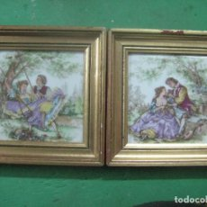 Antigüedades: BONITA PAREJA DE CUADROS EN PORCELANA DE LIMOGES PINTADOS A MANO FIRMADO,ESCENA FRAGONARD, SIGLO XIX. Lote 84961240
