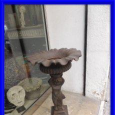 Antigüedades: COPA DE HIERRO, MACETERO SOSTENIDO POR ANGELOTE. Lote 84982956