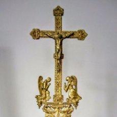 Antigüedades: CRUCIFIJO EN BRONCE Y CRISTAL DE BACCARAT C.1850-80. Lote 85023348