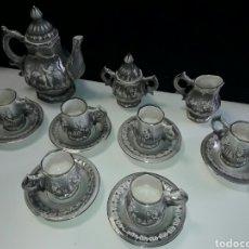Antigüedades: JUEGO DE TE O CAFÉ DE PORCELANA HECHA Y PINTADA A MANO. Lote 85041903