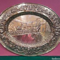 Antigüedades: GRAN BANDEJA ANTIGUA DE COBRE REPUJADO Y FUERTE PLATEADO DE 'EL QUIJOTE'.. Lote 85121656