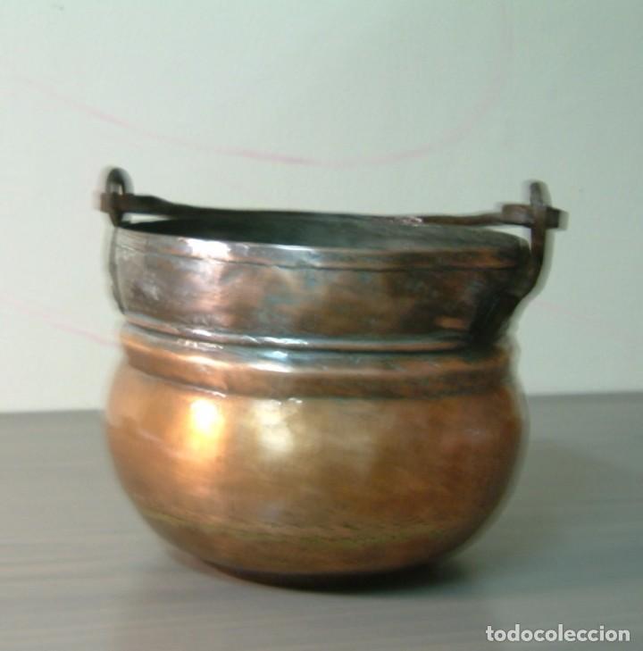 Antigüedades: Caldero - perolo de cobre antiguo con asa hierro forjado - Foto 2 - 85152716