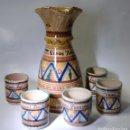 Antigüedades: CERAMICA MANCHEGA CONJUNTO DE JARRA Y VASOS DE VINO YUNTERO DE MANZANARES . Lote 85167364