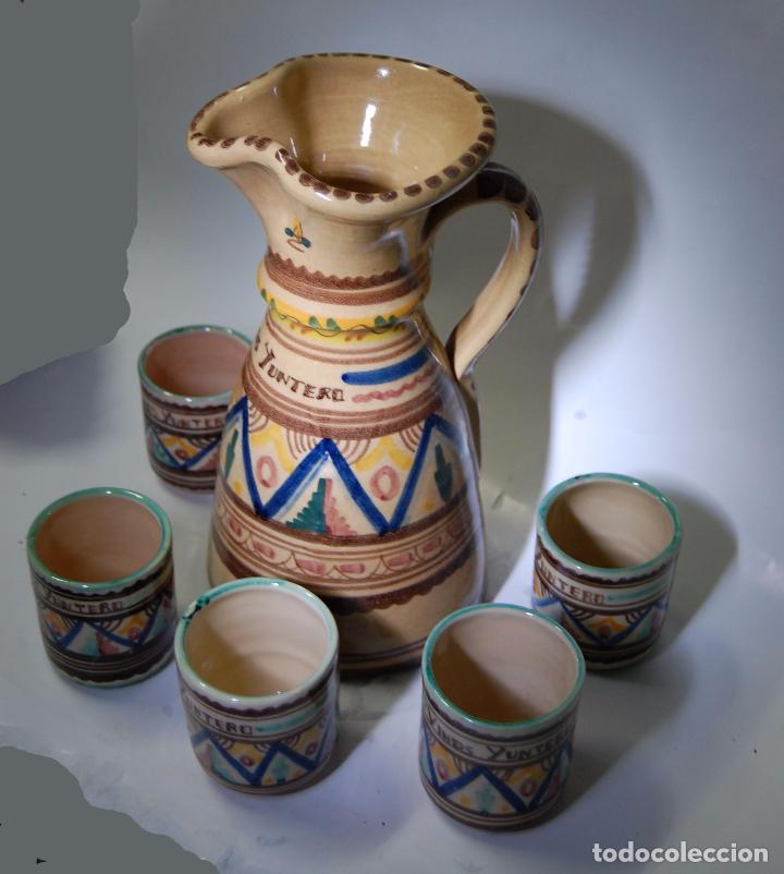 Antigüedades: CERAMICA MANCHEGA CONJUNTO DE JARRA Y VASOS DE VINO YUNTERO DE MANZANARES - Foto 2 - 85167364