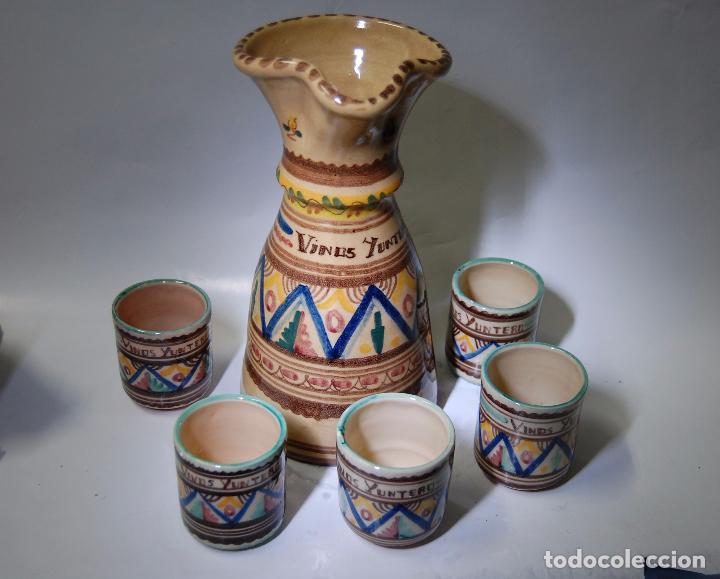 Antigüedades: CERAMICA MANCHEGA CONJUNTO DE JARRA Y VASOS DE VINO YUNTERO DE MANZANARES - Foto 3 - 85167364
