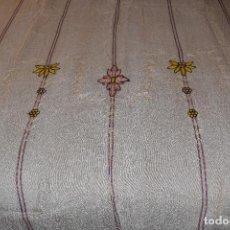 Antigüedades: CORTINA DE ALGODÓN FINO BORDADO EN CADENETA. Lote 85175016