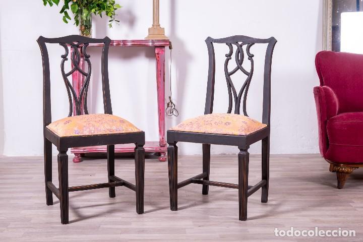 Antigüedades: Sillas Antiguas Restauradas Noir - Foto 2 - 85204792
