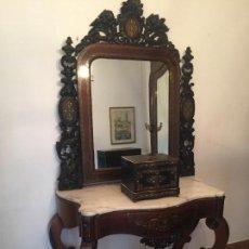 Antigüedades: CONSOLA ISABELINA DE JACARANDA Y MARQUETERIA DE METAL. Lote 85211324