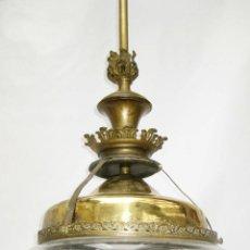 Antigüedades: ENORME LAMPARA MODERNISTA EN BRONCE Y CRISTAL CIRCA 1900 RESTAURADA LISTA PARA USO. Lote 85270188